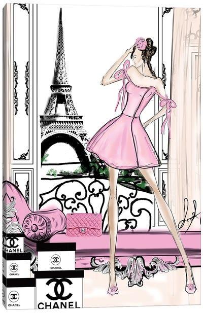 Paris View Pink Canvas Art Print