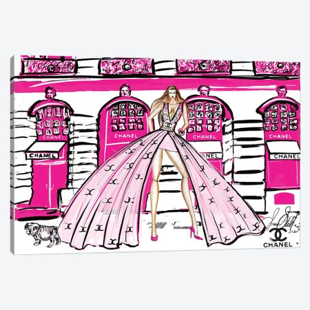 Pink Chanel Girl At Shop Canvas Print #SLL57} by Sonia Stella Canvas Art Print