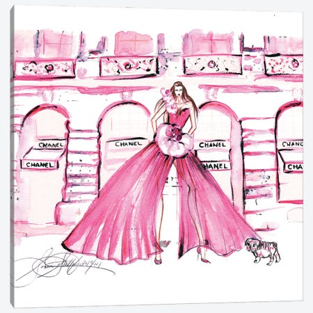 Pink Chanel Shop Watercolor Canvas Print #SLL58} by Sonia Stella Canvas Artwork