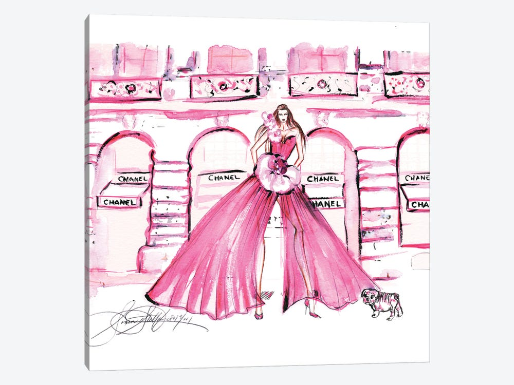 Pink Chanel Shop Watercolor by Sonia Stella 1-piece Canvas Wall Art