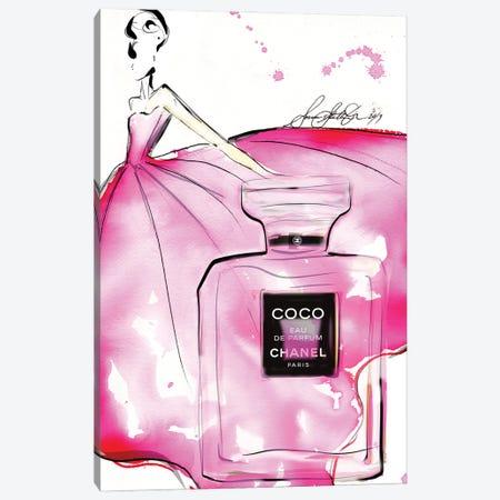 Pink Coco Bottle Hr Canvas Print #SLL59} by Sonia Stella Canvas Artwork