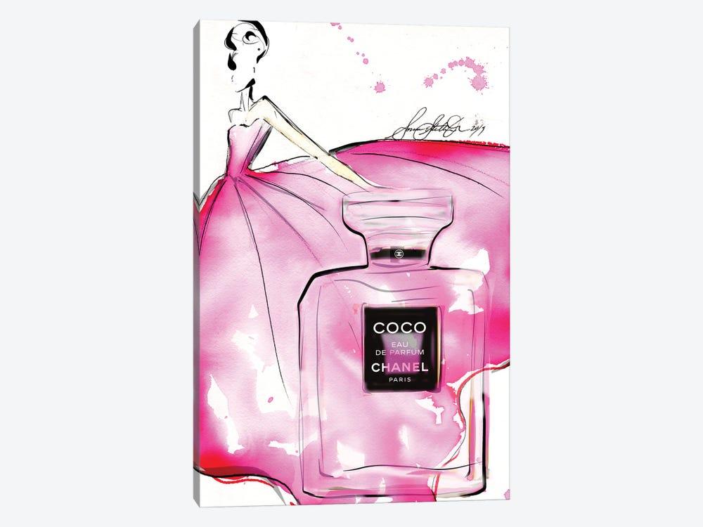 Pink Coco Bottle Hr by Sonia Stella 1-piece Canvas Art Print