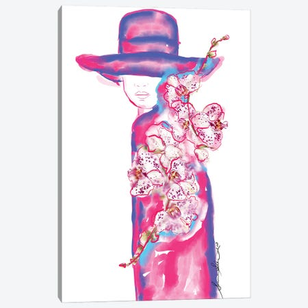 Abstract Orchid Floral Fashion Illustration Canvas Print #SLL5} by Sonia Stella Art Print