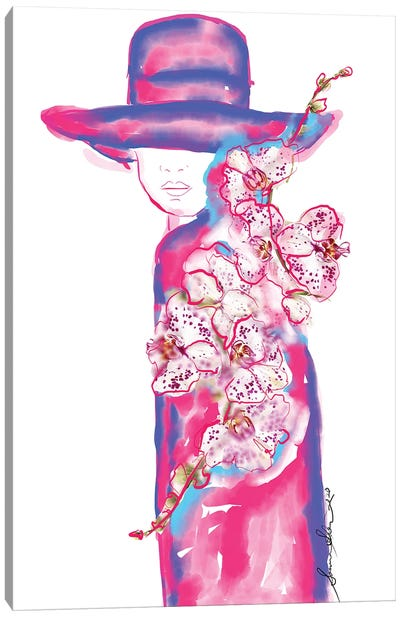 Abstract Orchid Floral Fashion Illustration Canvas Art Print