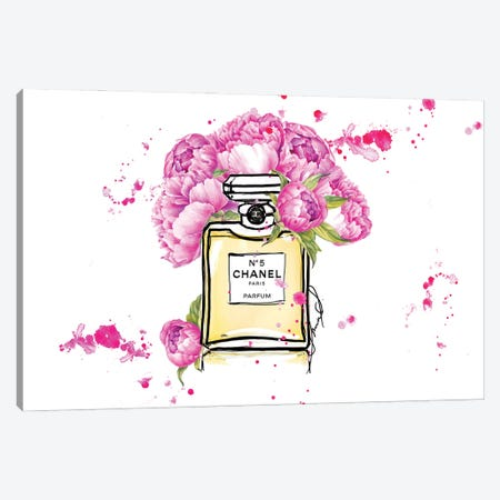 Chanel No5 Canvas Print #SLL65} by Sonia Stella Canvas Art