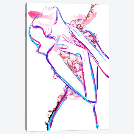Abstract Orchid Floral Fashion Illustration III 3-Piece Canvas #SLL6} by Sonia Stella Art Print