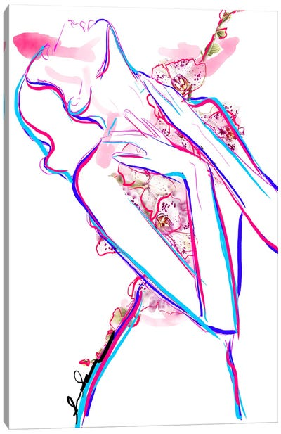 Abstract Orchid Floral Fashion Illustration III Canvas Art Print