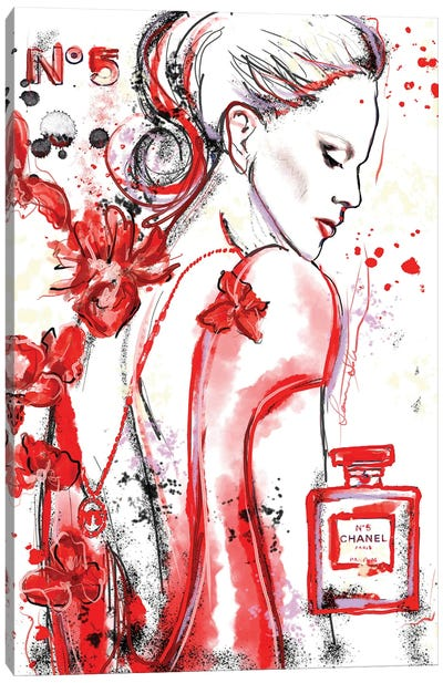 Chanel No 5 Nicole Kidman In Red Watercolor Painting Canvas Art Print