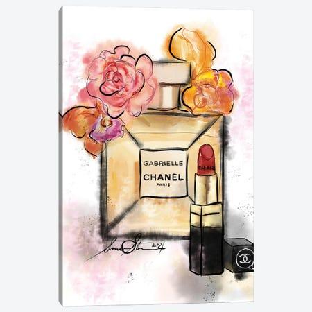 Gabrielle Chanel Perfume Watercolor Painting Canvas Print #SLL75} by Sonia Stella Art Print