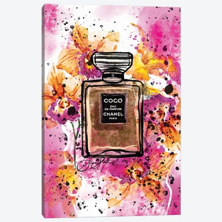 Coco Chanel Perfume Bottle Art Watercolor Painting Canvas Print #SLL76} by Sonia Stella Canvas Art Print