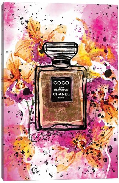 Coco Chanel Perfume Bottle Art Watercolor Painting Canvas Art Print