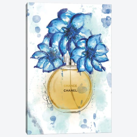 Chanel Chance Watercolor Perfume Bottle Art Canvas Print #SLL77} by Sonia Stella Canvas Print