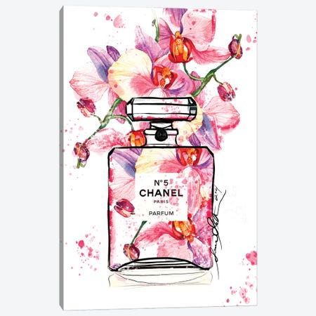 Chanel No 5 Orchid Watercolor Painting By Soniastella Canvas Print #SLL80} by Sonia Stella Canvas Art Print