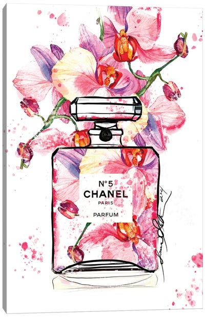 Chanel No 5 Orchid Watercolor Painting By Soniastella Canvas Art Print