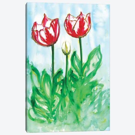 Tulips In The Wind Watercolor By Soniastella Canvas Print #SLL81} by Sonia Stella Canvas Art Print