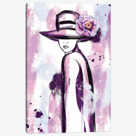 Girl In Purple Abstract Watercolor Painting Canvas Print #SLL82} by Sonia Stella Canvas Print