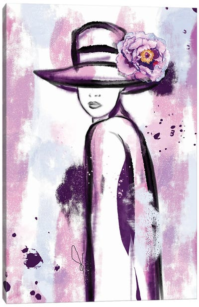 Girl In Purple Abstract Watercolor Painting Canvas Art Print
