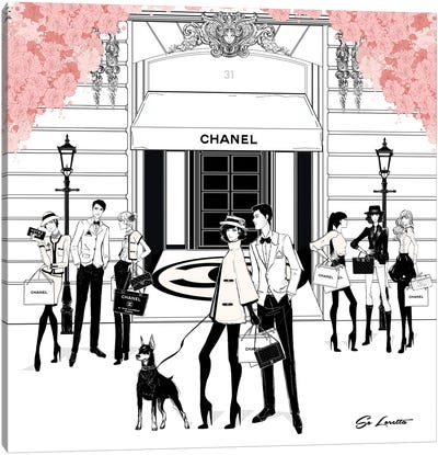 Chanel Store Front Pink Canvas Art Print