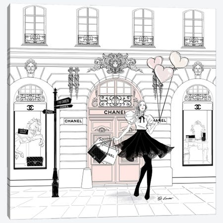 Chanel Pink Canvas Print #SLR34} by So Loretta Canvas Art Print