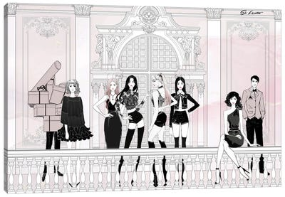 Black Pink Party Canvas Art Print