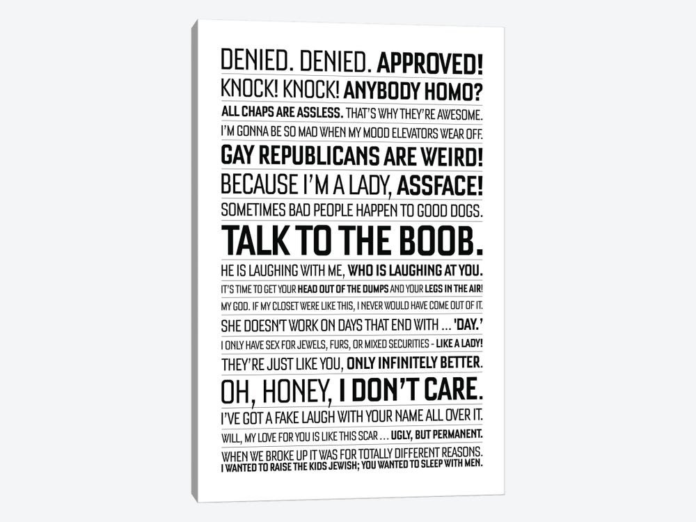 Will And Grace Quote II by Simon Lavery 1-piece Canvas Art Print