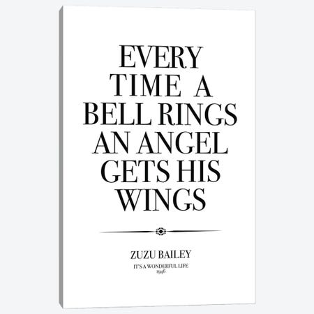 Its A Wonderful Life Quote Angel Wings Canvas Print #SLV36} by Simon Lavery Canvas Print