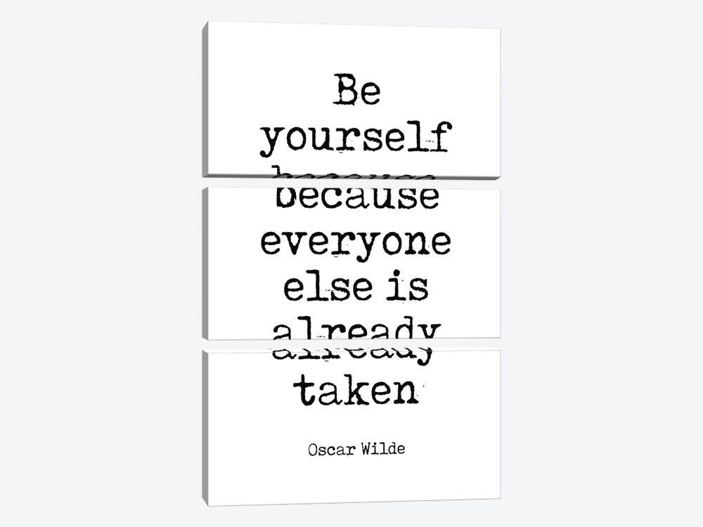 Oscar Wilde's Famous Quote by Simon Lavery 3-piece Canvas Art Print