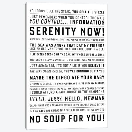 Quotes From The Classic Seinfeld Canvas Print #SLV76} by Simon Lavery Art Print