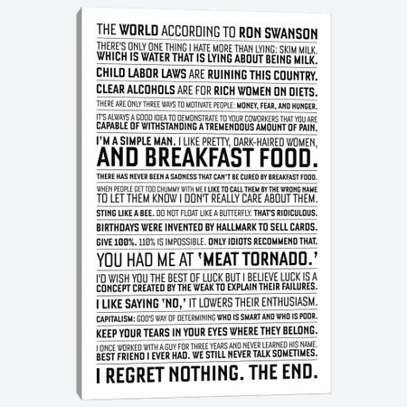 Ron Swanson Quotes From Parks And Recreation. Canvas Print #SLV84} by Simon Lavery Canvas Wall Art