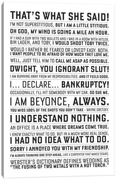 The Office Quote Canvas Art Print