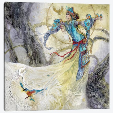 Of Kingsfishers And Bones Canvas Print #SLW117} by Stephanie Law Canvas Artwork