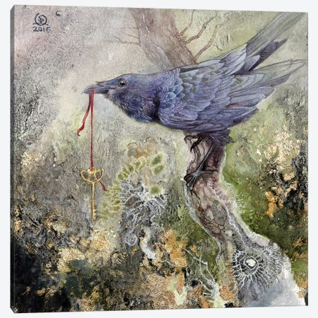 Raven IV Canvas Print #SLW126} by Stephanie Law Art Print