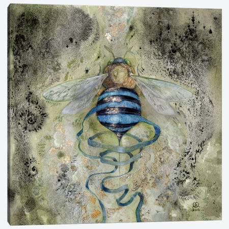 Blue Bee Canvas Print #SLW20} by Stephanie Law Canvas Wall Art
