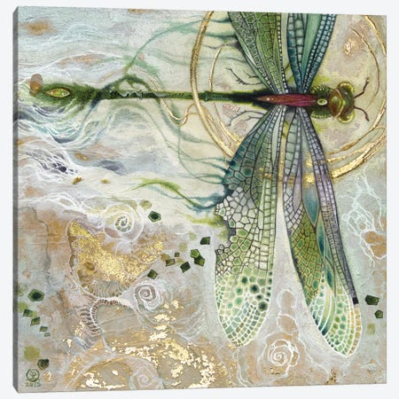 Damsel Fly II Canvas Print #SLW34} by Stephanie Law Canvas Wall Art
