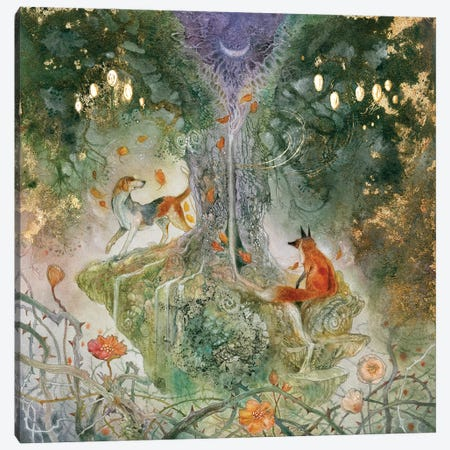 Fox And Hound Canvas Print #SLW73} by Stephanie Law Canvas Print
