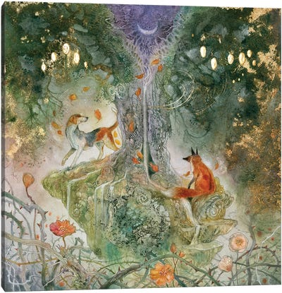 Fox And Hound Canvas Art Print