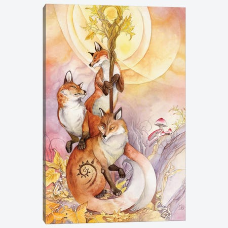 Foxes Canvas Print #SLW74} by Stephanie Law Canvas Artwork