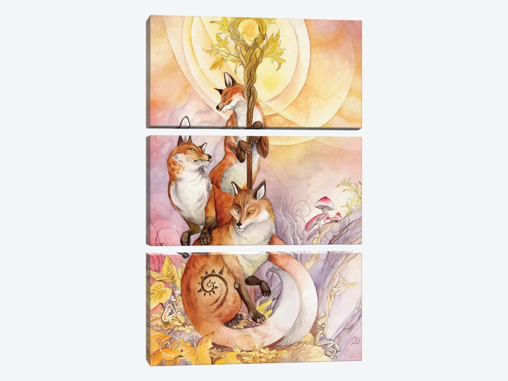 Foxes by Stephanie Law 3-piece Canvas Wall Art