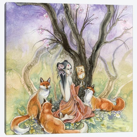 Kitsune Canvas Print #SLW95} by Stephanie Law Canvas Artwork
