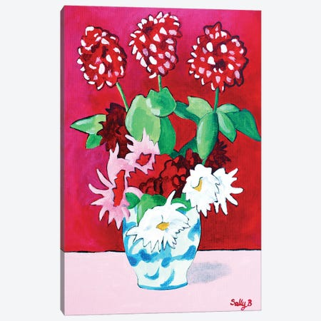 Geranium And Dahlia Bouquet Canvas Print #SLY100} by Sally B Canvas Art Print