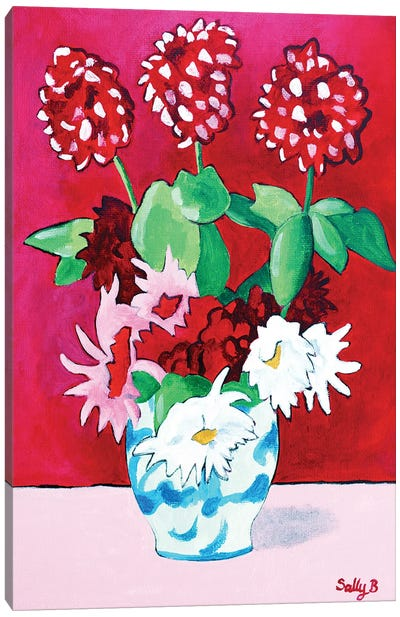 Geranium And Dahlia Bouquet Canvas Art Print