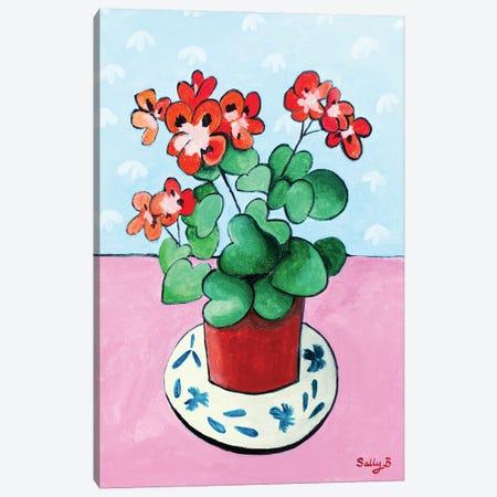 Geranium In Pot Canvas Print #SLY101} by Sally B Canvas Art Print