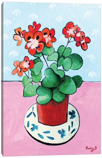 Geranium In Pot Canvas Art Print