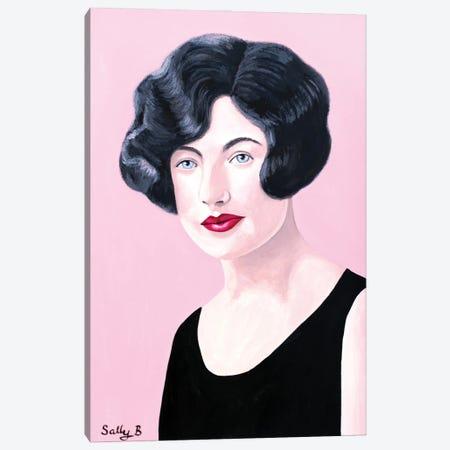 Flapper Lady In Black Dress Canvas Print #SLY104} by Sally B Canvas Wall Art