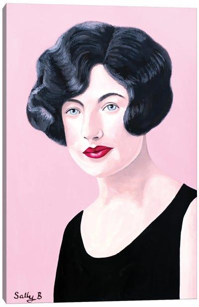 Flapper Lady In Black Dress Canvas Art Print