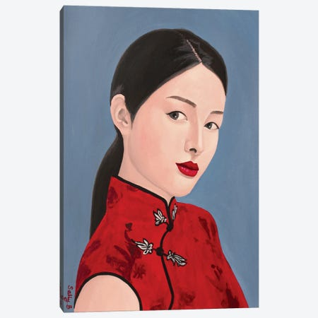 Chinese Lady In Red Cheongsam Canvas Print #SLY105} by Sally B Canvas Art
