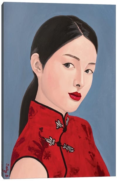 Chinese Lady In Red Cheongsam Canvas Art Print