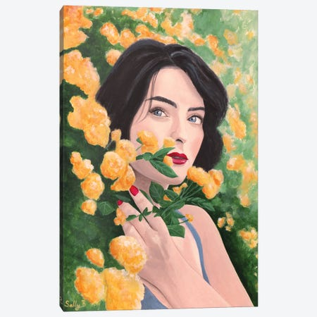 Woman In Orange Flower Garden Canvas Print #SLY107} by Sally B Canvas Wall Art