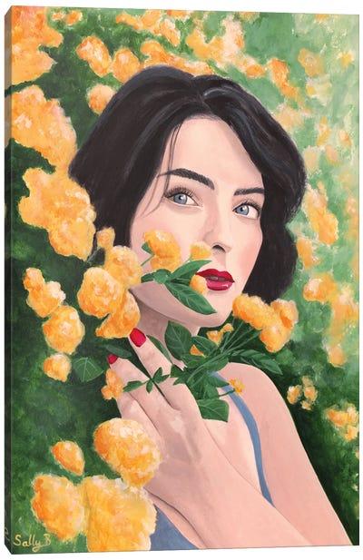Woman In Orange Flower Garden Canvas Art Print