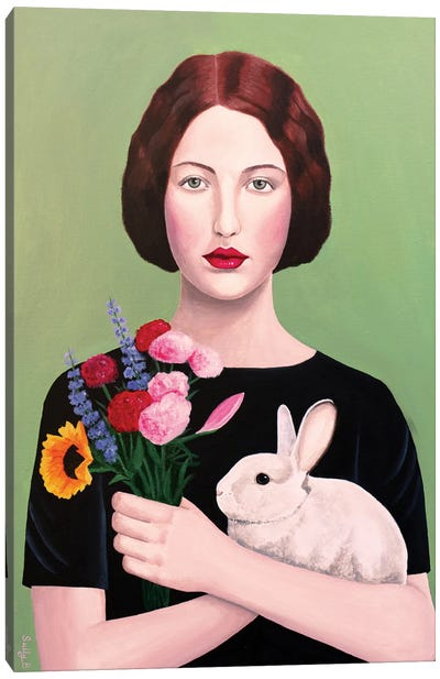 Woman With Rabbit And Flowers Canvas Art Print